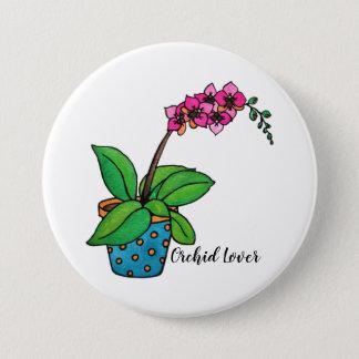Badge Usine d'orchidée d'aquarelle dans le beau pot