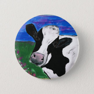 Badge Vache, ferme, animal, veau rural et peint à la