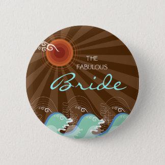 Badge Vagues de cool de JEUNE MARIÉE et bouton de