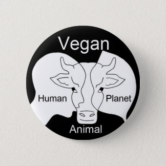 Badge vegan human animal vegetal