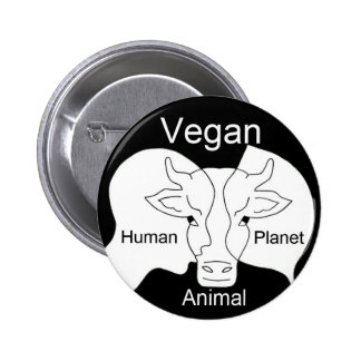 Badge vegan human animal vegetal