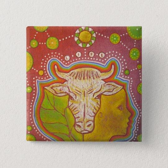 Badge vegan life animal human vegetal