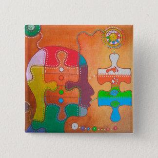 Badge vegan puzzle empreintes