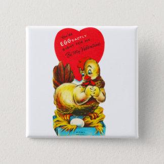 Badge Vieille poule vintage de poulet de Valentine