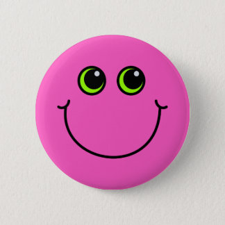 Badge Visage souriant rose