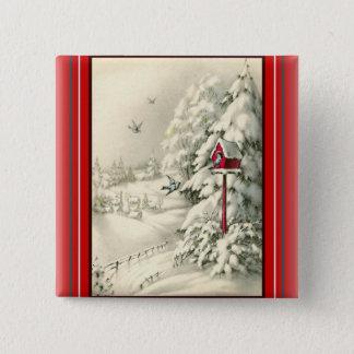 Badge Volière vintage de rouge du pays des merveilles de
