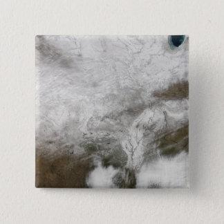 Badge Vue satellite d'une tempête grave d'hiver