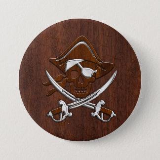 Badges Acier d'acajou nautique humide de crâne de pirate