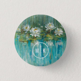 Badges Ajoutez votre étang de nénuphar du monogramme |