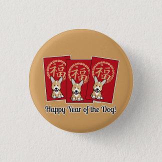 Badges Année chanceuse de corgi d'enveloppe rouge