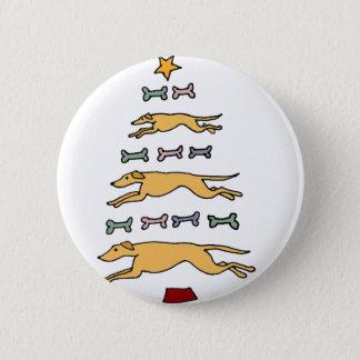 Badges Arbre artistique de chien de lévrier et de Noël