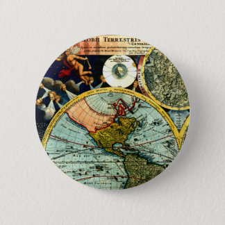 Badges Art historique de carte de globe vintage antique