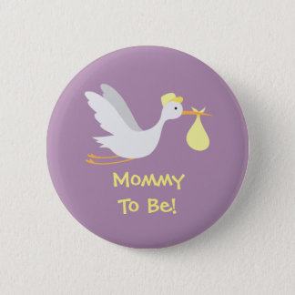 Badges Baby shower unisexe lunatique de cigogne