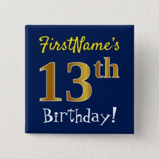 Badges Bleu, anniversaire d'or de Faux 13ème, avec le nom