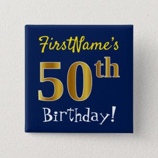 Badges Bleu, anniversaire d'or de Faux cinquantième, avec