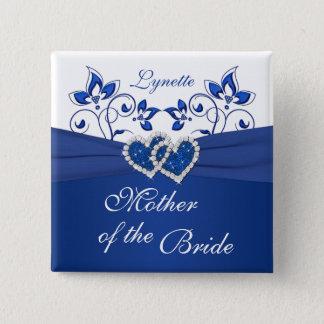Badges Bleu royal, mère florale blanche du Pin de jeune