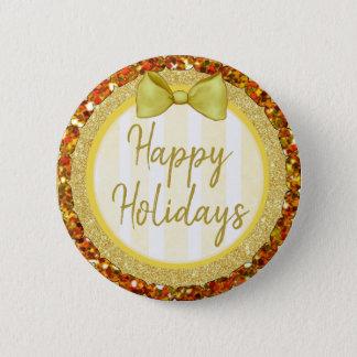Badges Bonnes fêtes parties scintillantes d'or avec le