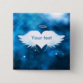 """Badges Borne carrée 2"""" de bouton - ange du coeur"""