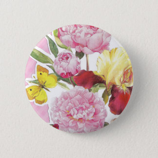 Badges Bouquet rose et jaune floral d'iris de papillon