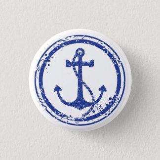 """Badges Bouton bleu vintage nautique d'ancre - 1,5"""" rond"""