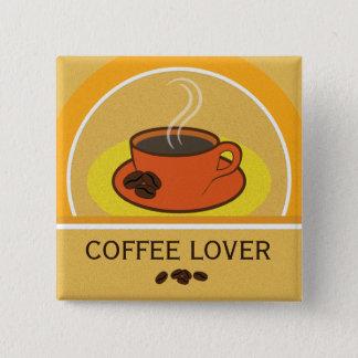 Badges Bouton carré de grains de café d'amant de café de