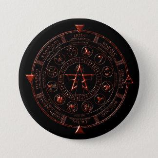 Badges Bouton celtique rouge de zodiaque de bois d'ébène