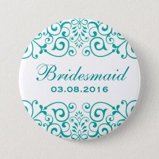Badges Bouton floral victorien turquoise blanc de