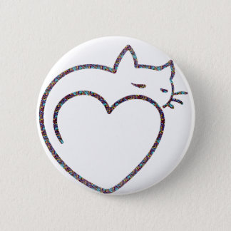Badges Bouton « Heart Cat ""