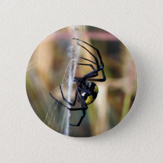 Badges Bouton noir et jaune d'araignée de jardin