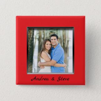 Badges Bouton rouge engagé de cadre de couples avec des