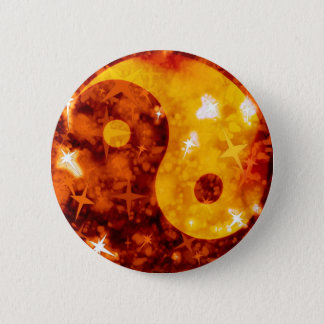 Badges Bouton scintillant ying d'or de yang
