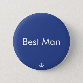 Badges Boutons nautiques bleus de mariage du meilleur