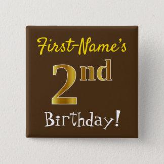 Badges Brown, anniversaire d'or de Faux 2ème, avec le nom