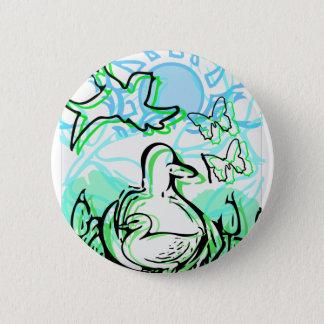 Badges Canards dans les cattails vert et bleu