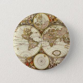 Badges Carte antique du monde, C. 1680. Par Frederick de