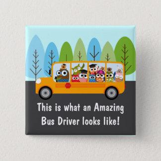 Badges Chauffeur d'autobus scolaire mignon de hibou