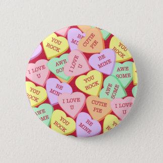 Badges Coeurs de sucrerie de Saint-Valentin