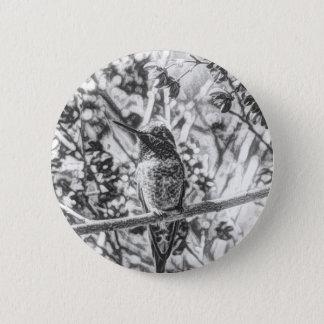 Badges Colibri dans le bouton noir et blanc