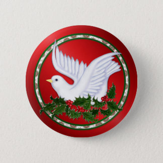 Badges Colombe et houx de Noël
