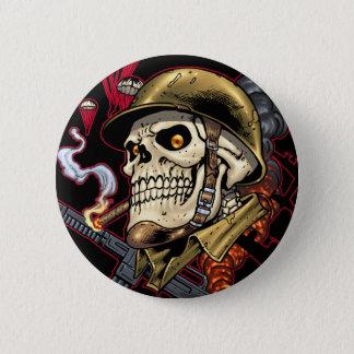Badges Crâne avec le casque, les avions et les bombes