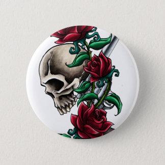 Badges Crâne occidental avec les roses rouges et le