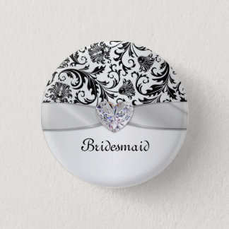 Badges Demoiselle d'honneur florale noire de mariage