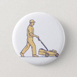 Badges Dessin de fauchage de tondeuse à gazon de