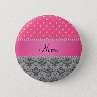 Badges Diamants gris nommés personnalisés de rose de