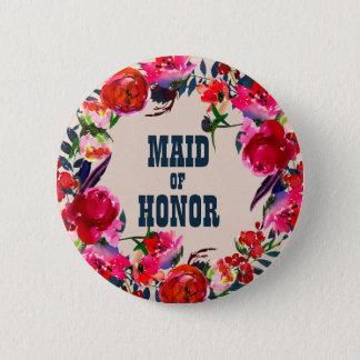 Badges Domestique florale rouge de Boho de bouton de
