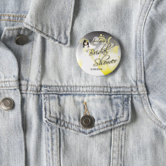 Badges Douche nuptiale dans un jaune et un gris