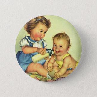 Badges Enfants vintages, bouteille heureuse mignonne de