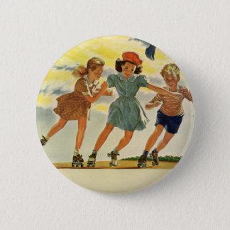 Badges Enfants vintages, patinage de rouleau d'amusement