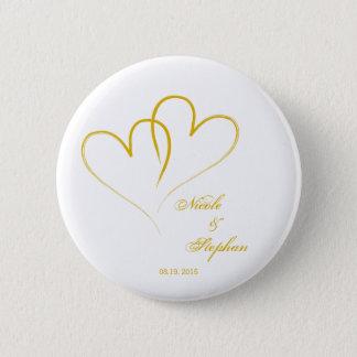 Badges Faites gagner la date - deux coeurs entrelacés