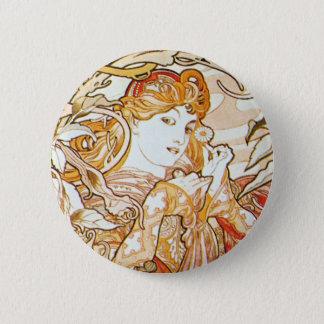 Badges Femme de Mucha avec un bouton de Nouveau d'art de